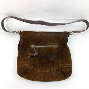 Vintage Coach Brown Suede Leather Crossbody Bag